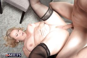 Plump over 60 blonde granny Alice blowing big cock in stockings #51002507