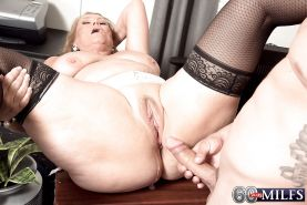Plump over 60 blonde granny Alice blowing big cock in stockings #51002518