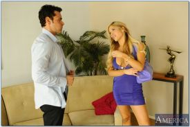 Alluring babe Tasha Reign gives a blowjob and gets shafted tough