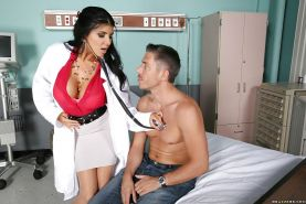 Busty doctor Romi Rain gives blowjob to big penis in hospital room