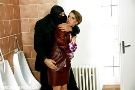 Kinky lady gets involved into hardcore fully clothed action by a masked lad
