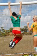 Horny lesbians in sport uniform licking cunts to each other outdoor