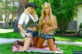 Two hot cowgirls Summer Brielle and Tasha Reign having a threesome