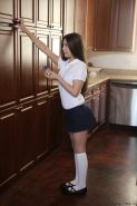 Amateur cutie Lucy Doll getting fucked in school uniform in kitchen