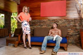 Horny wife Lily LaBeau exposing big tits to seduce muscular yard worker