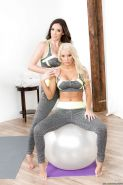 Lesbian moms Jelena Jensen and Kenzie Taylor free big tits from yoga clothes