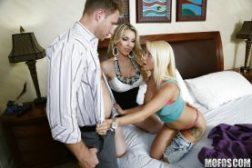 Babysitter Marsha May gets some help in cum swallowing from Courtney Cummz
