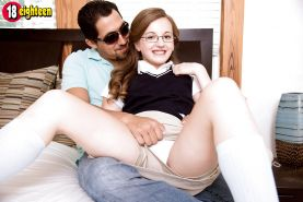 Tiny teen girl Marissa Mae having flat chest exposed in glasses