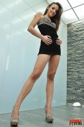 Slender babe on high heels Amirah Adara stripping and fingering her holes