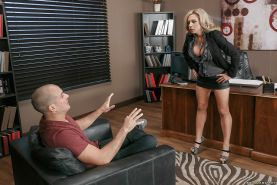 Buxom blond cougar Parker Swayze giving a blowjob in office for cum on face