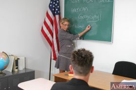 MILF teacher in glasses Chelsea Zinn fucked and facialized in class