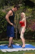 Flexy blonde teen Madison Scott gets fucked and facialized outdoor