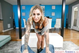 Tatted MILF pornstar Kleio Valentien jerking off big dick after riding on top