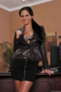 MILF babe with big tits Ava Addams spreading legs in office naked