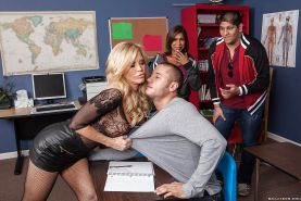 Slutty teacher with huge jugs Amber Lynn sucks and fucks her student's cock