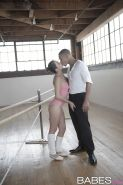 Latina teen Melissa Moore giving interracial bj in dancer's outfit