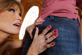 MILF over 50 Darla Crane flashes white panties while chomping down on penis