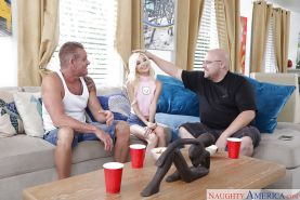 Tiny blonde pornstar Piper Perri showing off tight ass while fucking older man