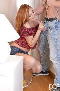 Redhead Euro chick Eva Berger deepthroating while giving ball licking bj
