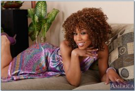 Curly African wife Misty Stone shows her gorgeous slutty pussy