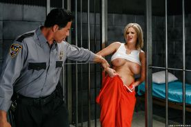 Mature slut with big tits Zoey Holiday is fucking in a prison uniform