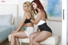 Luscious redhed babe has some fervent lesbian fun with her blonde friend