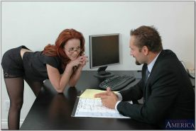 Nasty redhead Trinity Post gets her tight ass fucked hardcore in office