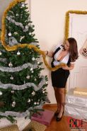 Chubby chicks expose large tits before having lesbian sex at Christmas