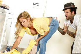 Beautiful blonde wife Alexis Fawx gets on her knees to dispense blowjob