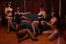 Masked fetish ladies have some kinky lesbian groupsex fun