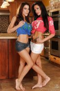 Fuckable latina babes having some lesbian fun in the kitchen