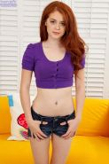 Amateur red-haired amateur actress Alice Green teases her kitty