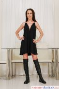 Euro wife McKenzie Lee stripping off dress to pose naked in knee high boots