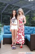 Older and younger ladies Cory Chase and Kharlie Stone posing nude together