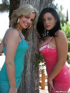 Big titted lesbian babes Angelica Raven and her girl spreading pussy