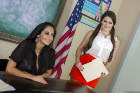 Splendid lesbian milf Ava Addams is teased by horny Abby Cross