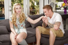 Teen blonde Samantha Rone was pounded in her wide shaved puss