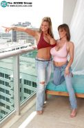Crystal Gunns and Cindy Cupps do some lesbian loving on the balcony.