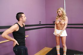 Sexy stripper in striped socks Bree Olson got her hairy pussy fucked