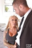 MILF pornstars Lolly Ink and Bridgette B expose huge tits during threesome