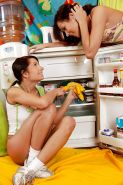 Foxy dirty-minded teens make some sizzling lesbian action in the kitchen