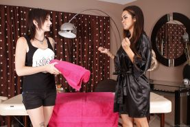 Latina lesbians Daisy Marie and Nikki Hearts licking beavers after massage