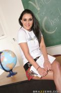Latina schoolgirl Charley Chase stripping and showing her ass upskirt
