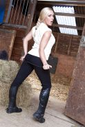 Fascinating milf Victoria Summers with curvy body poses at the farm