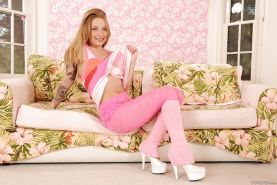 Teen babe with tiny tits Alyssa Branch demonstrates her hairy pussy in high heels