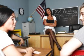 Nasty MILF teacher Lezley Zen denudes hooters and gets pounded hard