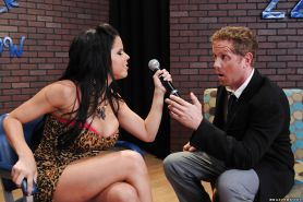 Latina brunette Diamond Kitty is fucking with a guy on a reality show