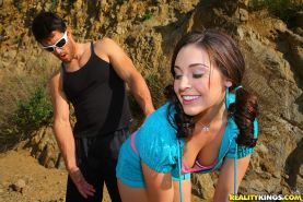 Sweet teen with pigtails Gracie Glam riding a big cock hardcore