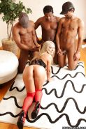 Chocolate studs give Alisa an interracial gangbang she won't forget