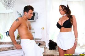Insanely sexy maid Chloe Reese Carter fucks and gets a mouthful of cum